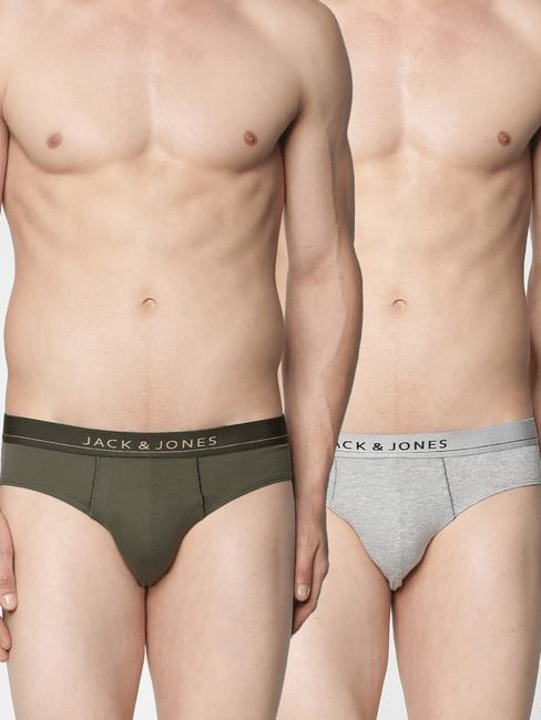 Pack of 2 Briefs - Grey & Green