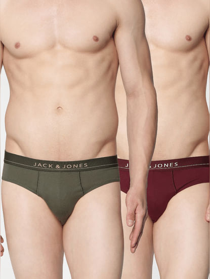 Pack of 2 Briefs - Burgundy & Green
