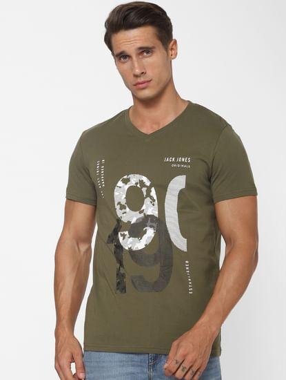 Green Logo Print V Neck T-shirt
