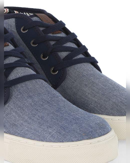 Blue Denim Mid Top Sneakers