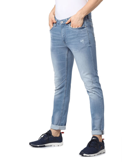Light Blue Mid Rise Glenn Slim Fit Jeans