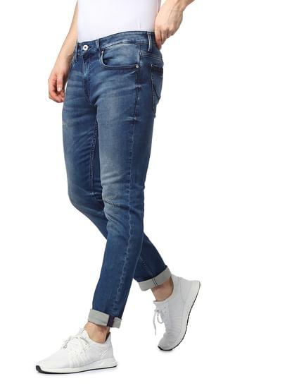 Blue Mid Rise Glenn Distressed Slim Fit Jeans