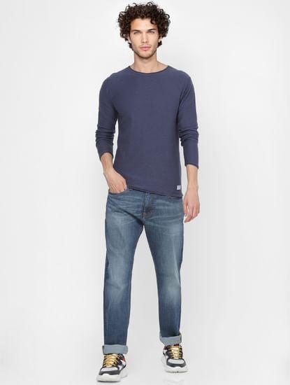 Blue Slub Knit Pullover