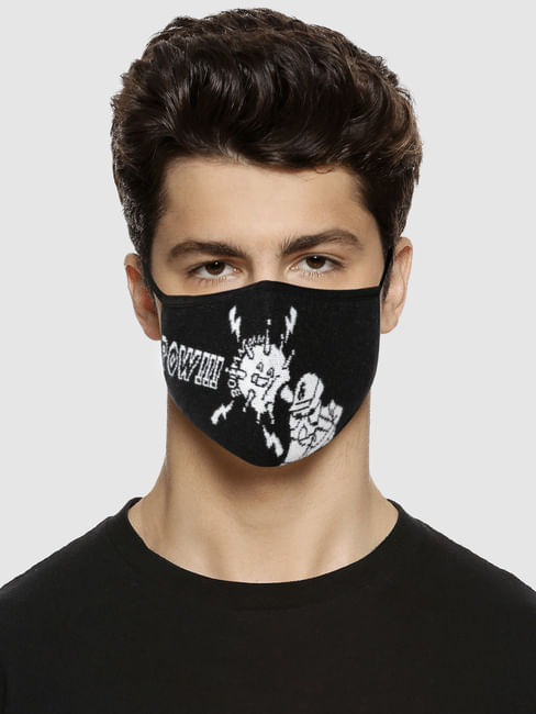 Black Typographic Print Knit 3PLY Mask