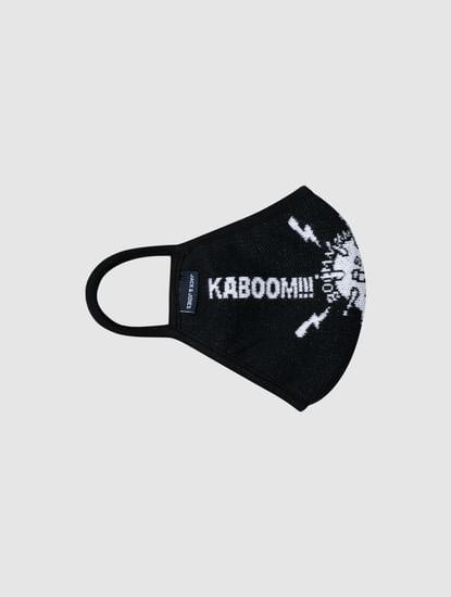 Black Text Print Knit 3PLY Mask