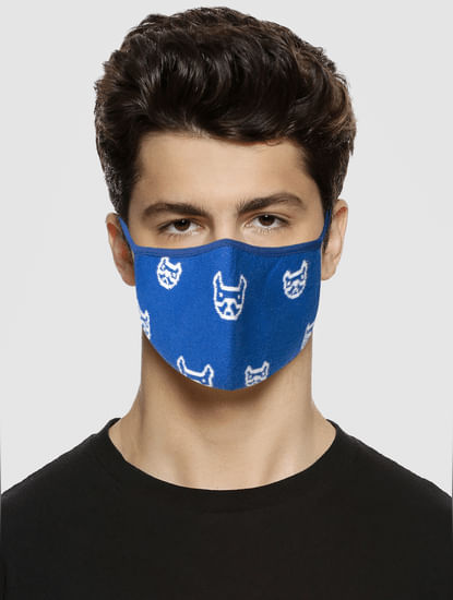 Pack of 3 Logo Print Knit 3PLY Mask