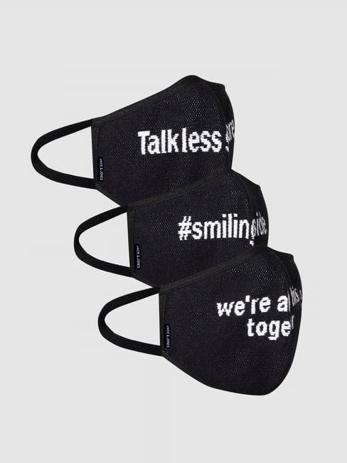 Pack of 3 Black Text Print Knit 3PLY Mask