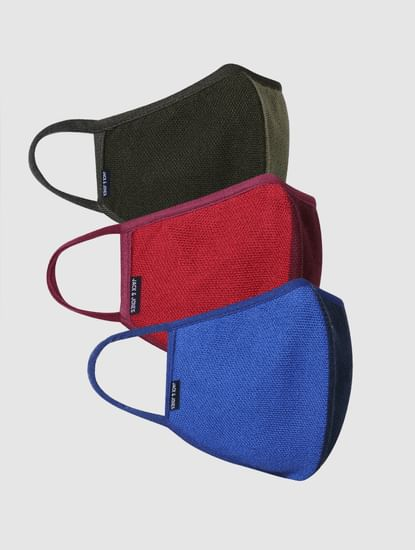 Pack of 3 Colourblocked Knit 3PLY Mask