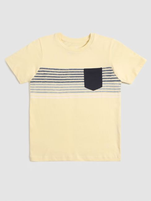 Junior Light Yellow Printed Crew Neck T-shirt