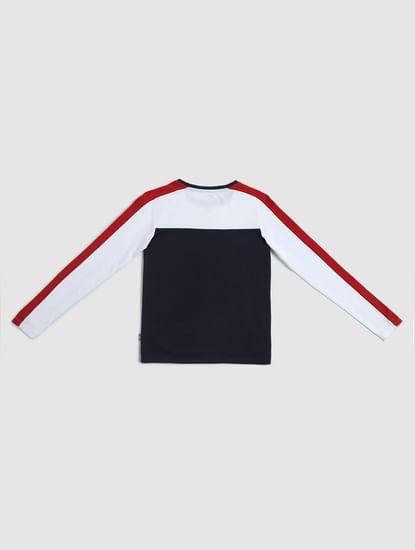 Junior Navy Blue Colourblocked Crew Neck T-shirt