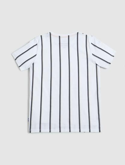 Boys White Striped Crew Neck T-shirt