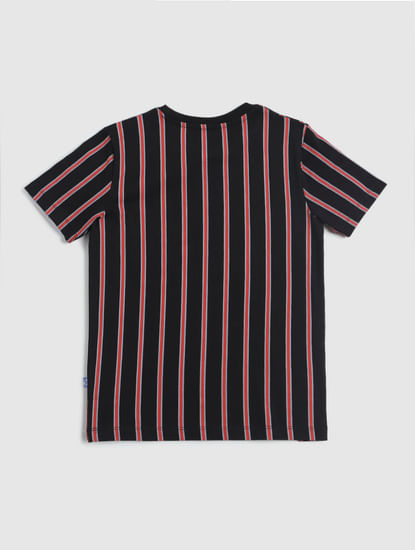 Junior Black Striped Crew Neck T-shirt