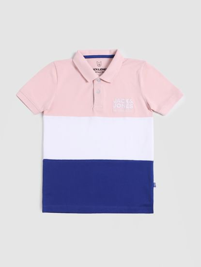 Boys White Colourblocked Polo T-shirt