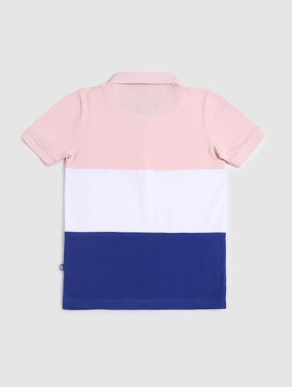 Junior White Colourblocked Polo T-shirt