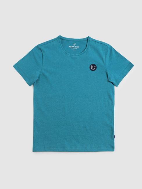 Junior Blue Logo Print Crew Neck T-shirt