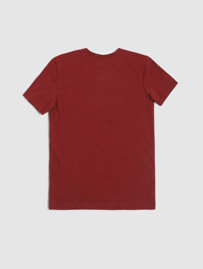 Junior Red Logo Print Crew Neck T-shirt