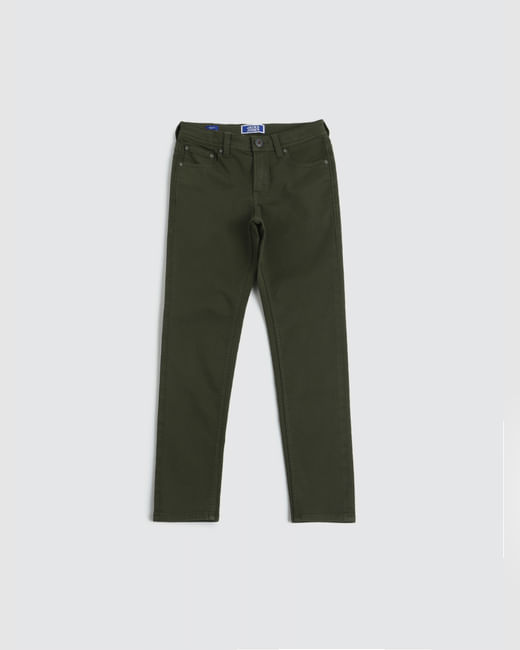 Junior Olive Low Rise Glenn Slim Fit Jeans