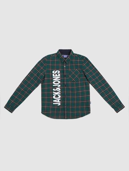 Boys Green Check Full Sleeves Shirt