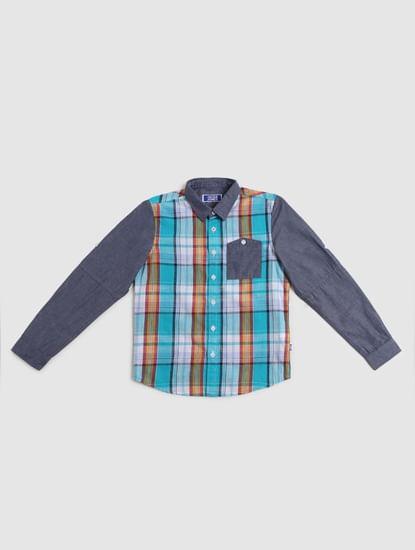 Boys Blue Check Full Sleeves Shirt
