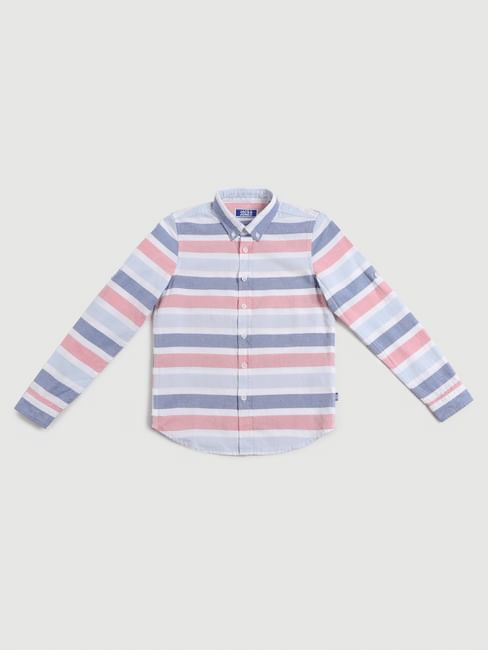 Junior White Striped Full Sleeves Shirt