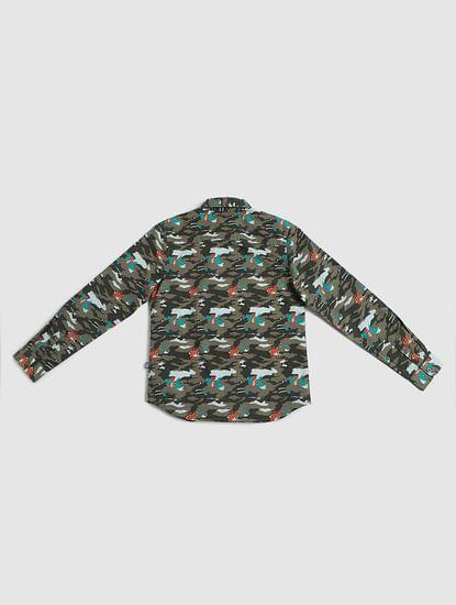 Boys Green Printed Full Sleeves Shirt