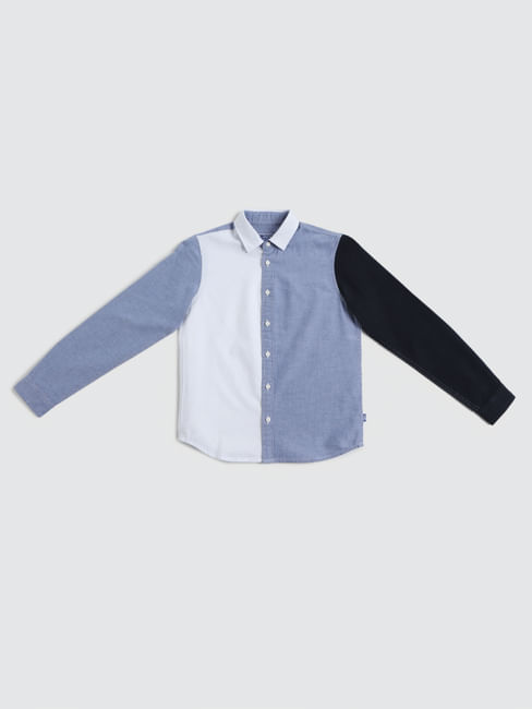 Junior White Colourblocked Full Sleeves Shirt