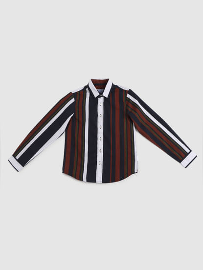 Junior Navy Blue Striped Full Sleeves Shirt