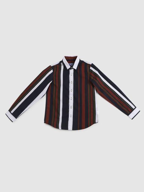 Junior Navy Blue Striped Full Sleeves Shirt