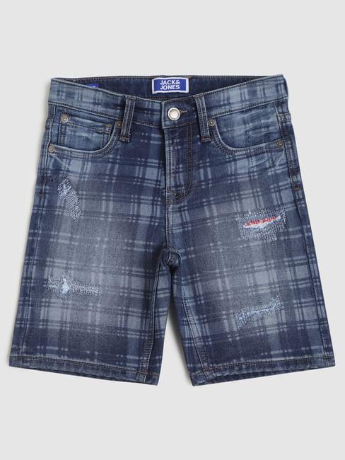 Boys Blue Mid Rise Check Denim Shorts