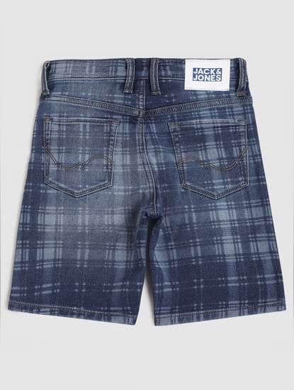 Junior Blue Mid Rise Check Denim Shorts