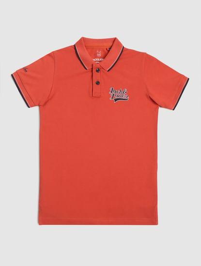 Boys Red Logo Print Polo T-shirt