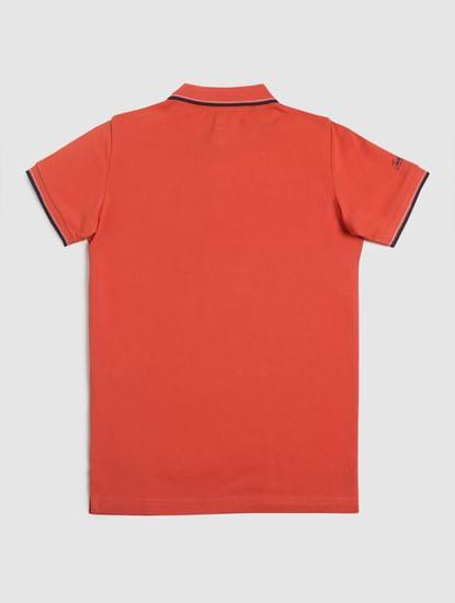 Junior Red Logo Print Polo T-shirt