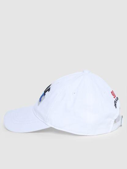 Junior White Text Print Baseball Cap