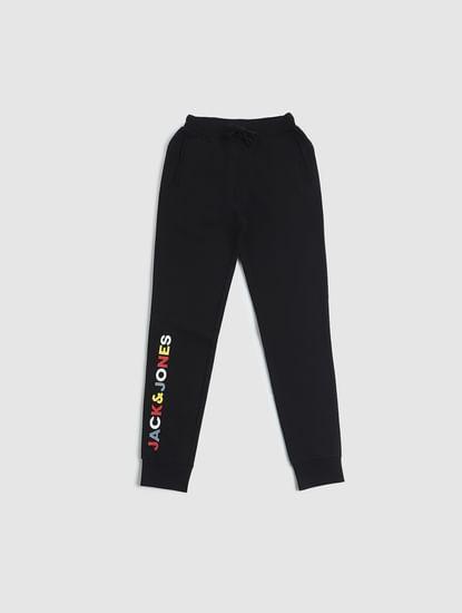 Junior Black Mid Rise Logo Print Sweatpants