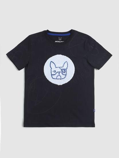 Junior Navy Blue Logo Print Crew Neck T-shirt