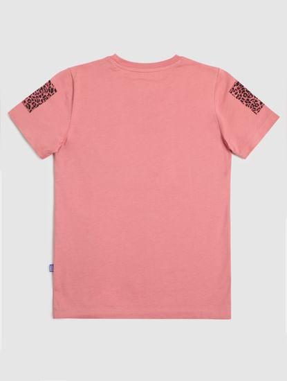 Junior Pink Printed Crew Neck T-shirt