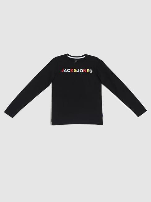 Junior Black Logo Print Crew Neck T-shirt