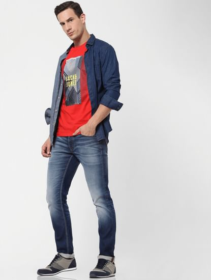 Blue Low Rise Washed Glenn Slim Fit Jeans