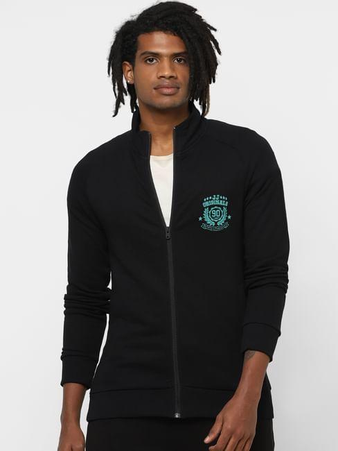 Black High Neck Zip Up Sweatshirt