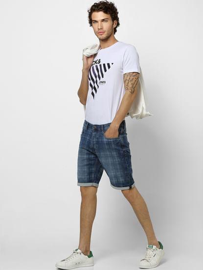 Blue Mid Rise Check Denim Shorts