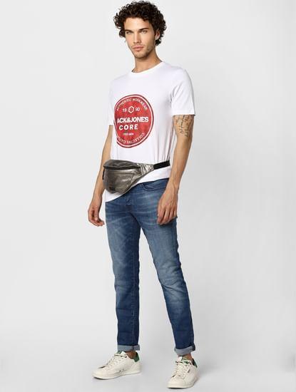 White Crew Neck Graphic Print T-shirt