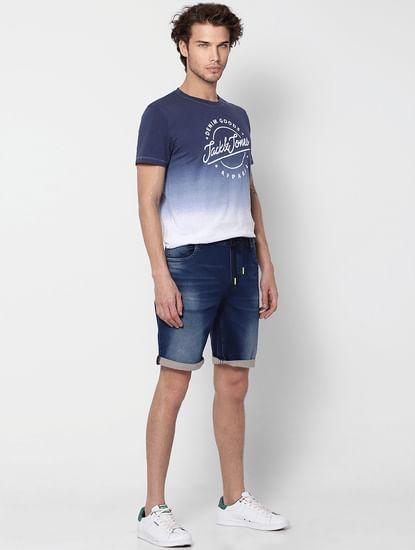 Dark Blue Washed Mid Rise Denim Shorts