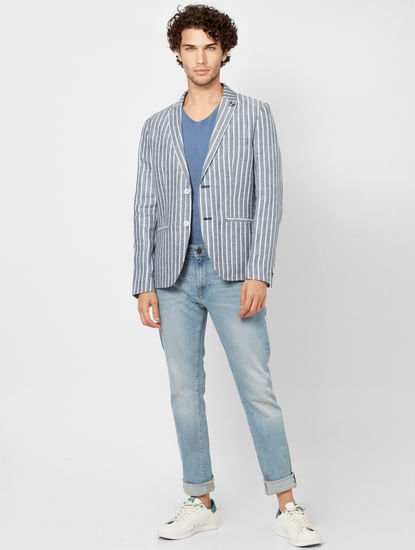 Blue Striped Slim Fit Linen Blazer