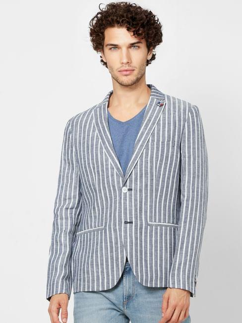 Blue Striped Slim Fit Linen Blazer