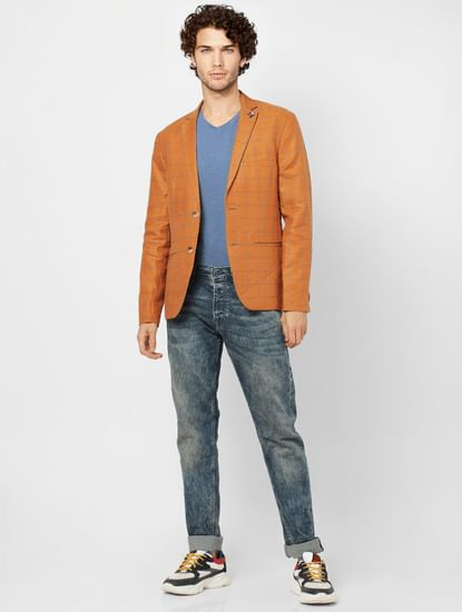 Orange Check Slim Fit Blazer Linen Blazer