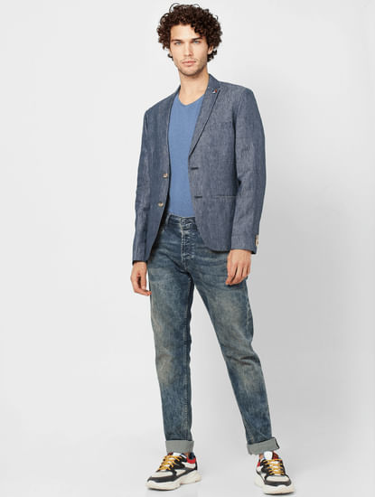 Blue Textured Slim Fit Linen Blazer