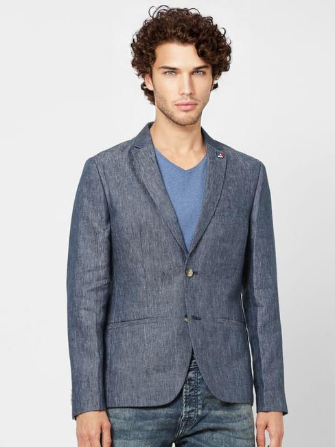 Blue Textured Slim Fit Linen Blazer