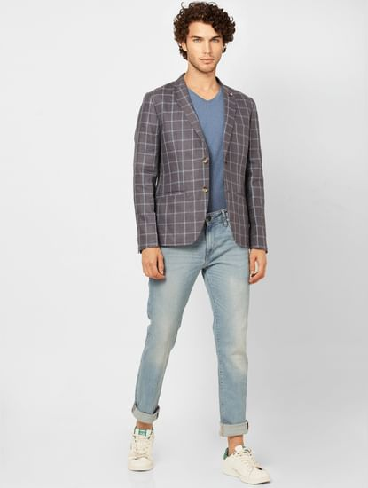 Grey Check Slim Fit Linen Blazer