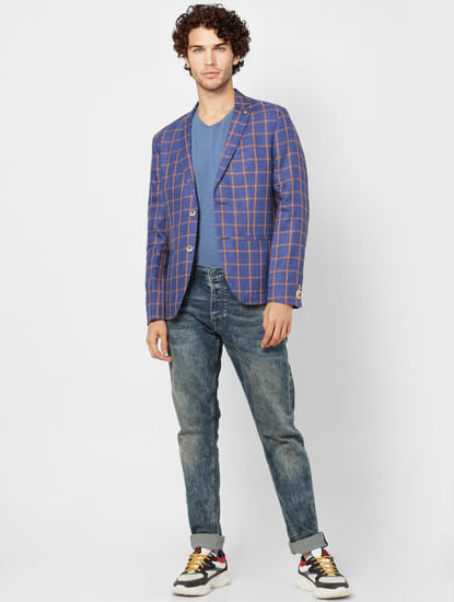 Blue Check Slim Fit Linen Blazer