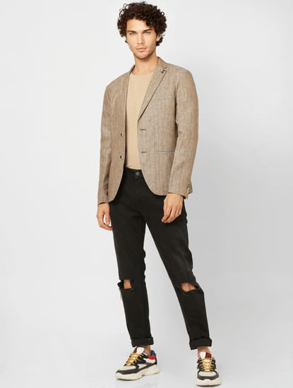 Beige Striped Slim Fit Linen Blazer